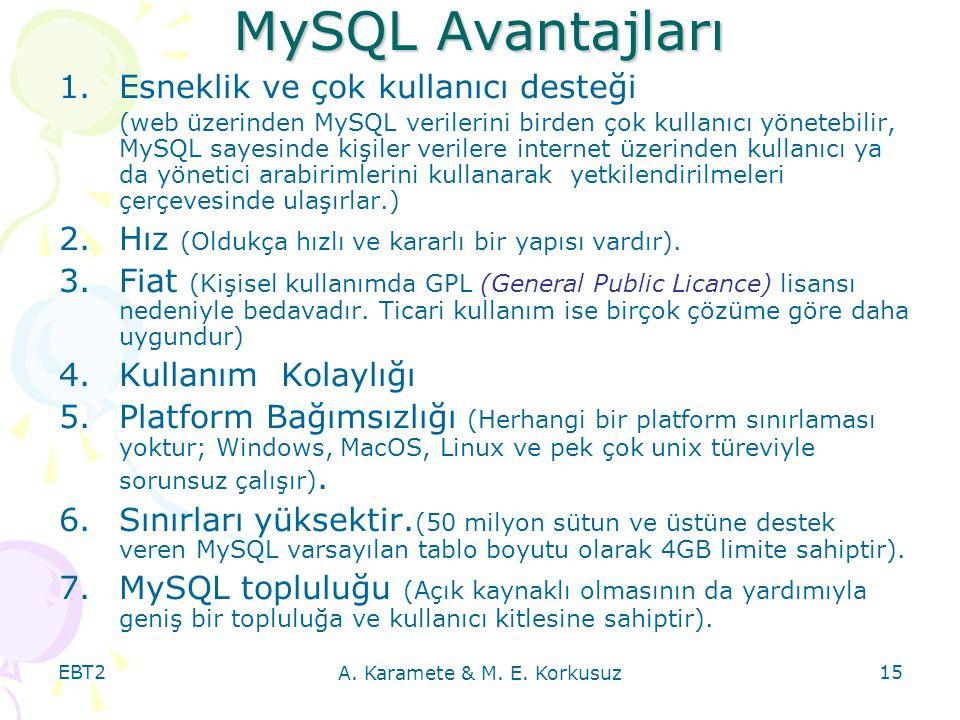 EBT2 A. Karamete & M. E. Korkusuz 15 MySQL Avantajları 1.Esneklik ve çok kullanıcı desteği (web üzerinden MySQL verilerini birden çok kullanıcı yönete
