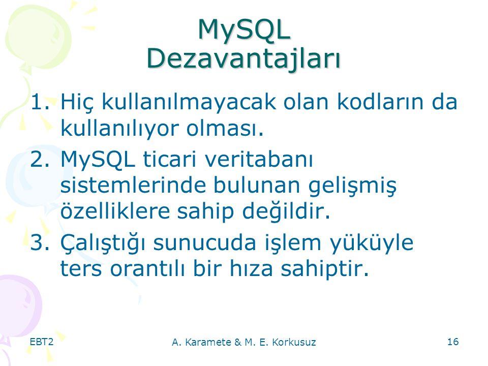EBT2 A. Karamete & M. E. Korkusuz 16 MySQL Dezavantajları 1.Hiç kullanılmayacak olan kodların da kullanılıyor olması. 2.MySQL ticari veritabanı sistem