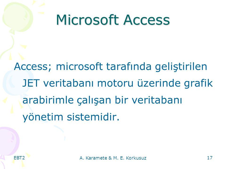 EBT2 A. Karamete & M. E. Korkusuz 17 Microsoft Access Access; microsoft tarafında geliştirilen JET veritabanı motoru üzerinde grafik arabirimle çalışa
