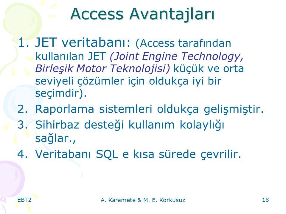 EBT2 A. Karamete & M. E. Korkusuz 18 Access Avantajları 1.JET veritabanı: (Access tarafından kullanılan JET (Joint Engine Technology, Birleşik Motor T