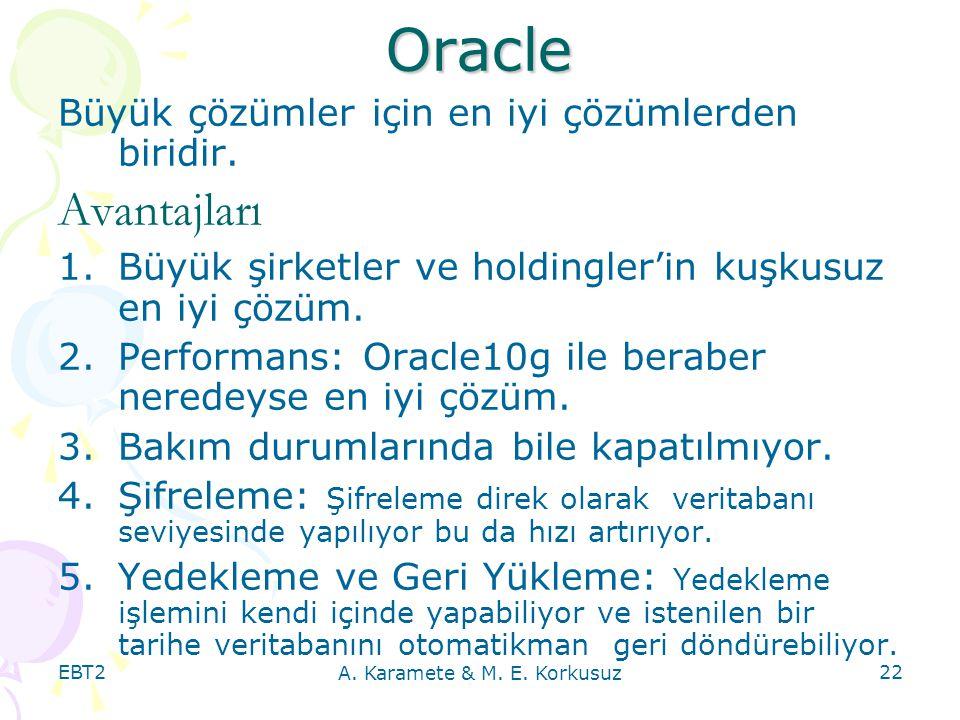 EBT2 A. Karamete & M. E. Korkusuz 22 Oracle Büyük çözümler için en iyi çözümlerden biridir. Avantajları 1.Büyük şirketler ve holdingler'in kuşkusuz en
