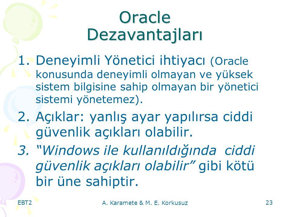 EBT2 A. Karamete & M. E. Korkusuz 23 Oracle Dezavantajları 1.Deneyimli Yönetici ihtiyacı (Oracle konusunda deneyimli olmayan ve yüksek sistem bilgisin