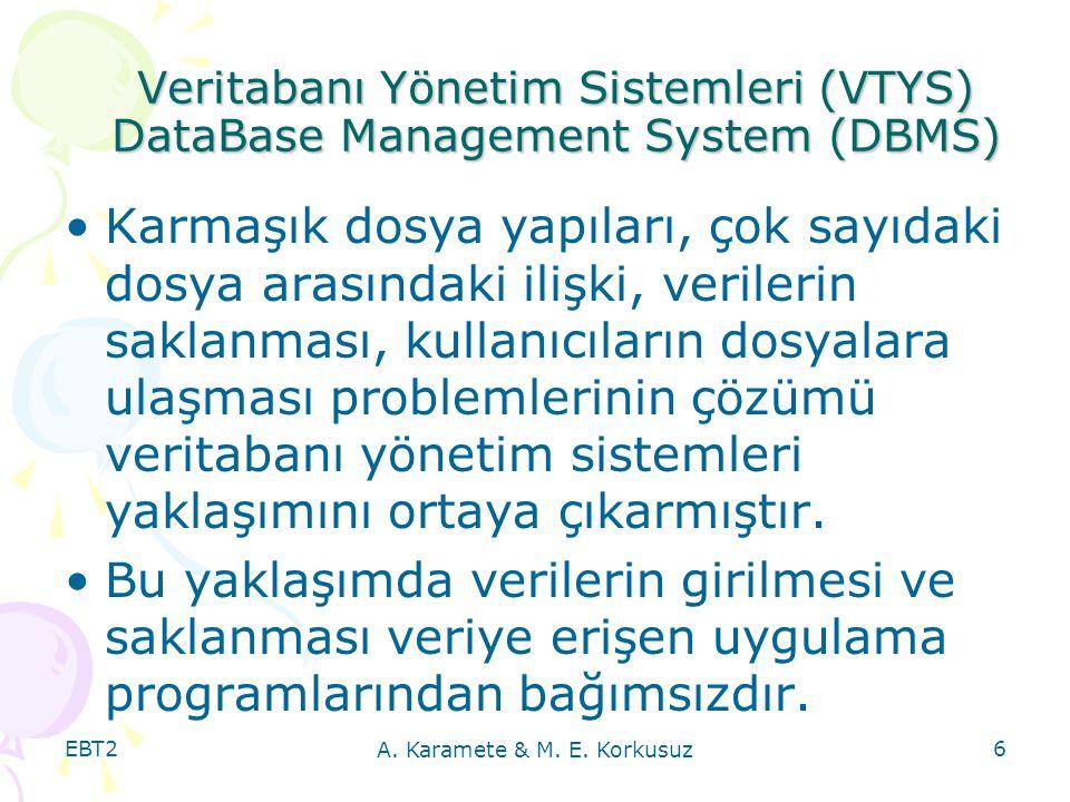 EBT2 A. Karamete & M. E. Korkusuz 6 Veritabanı Yönetim Sistemleri (VTYS) DataBase Management System (DBMS) Karmaşık dosya yapıları, çok sayıdaki dosya