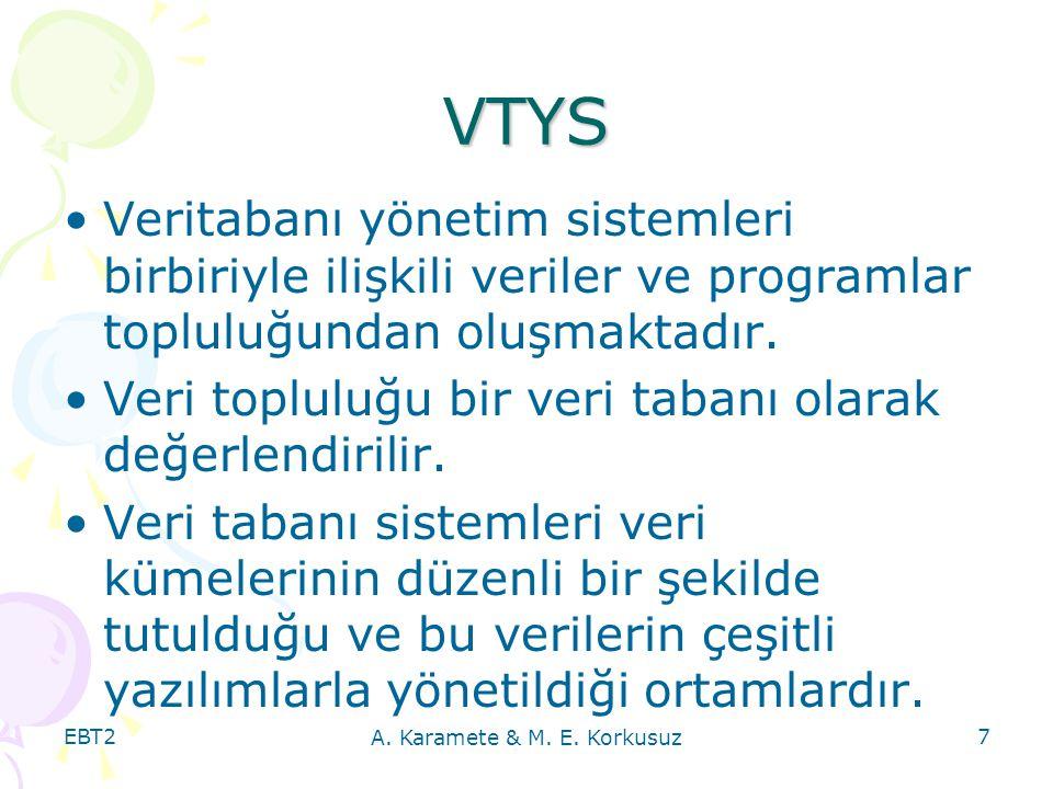 EBT2 A. Karamete & M. E. Korkusuz 7 VTYS Veritabanı yönetim sistemleri birbiriyle ilişkili veriler ve programlar topluluğundan oluşmaktadır. Veri topl