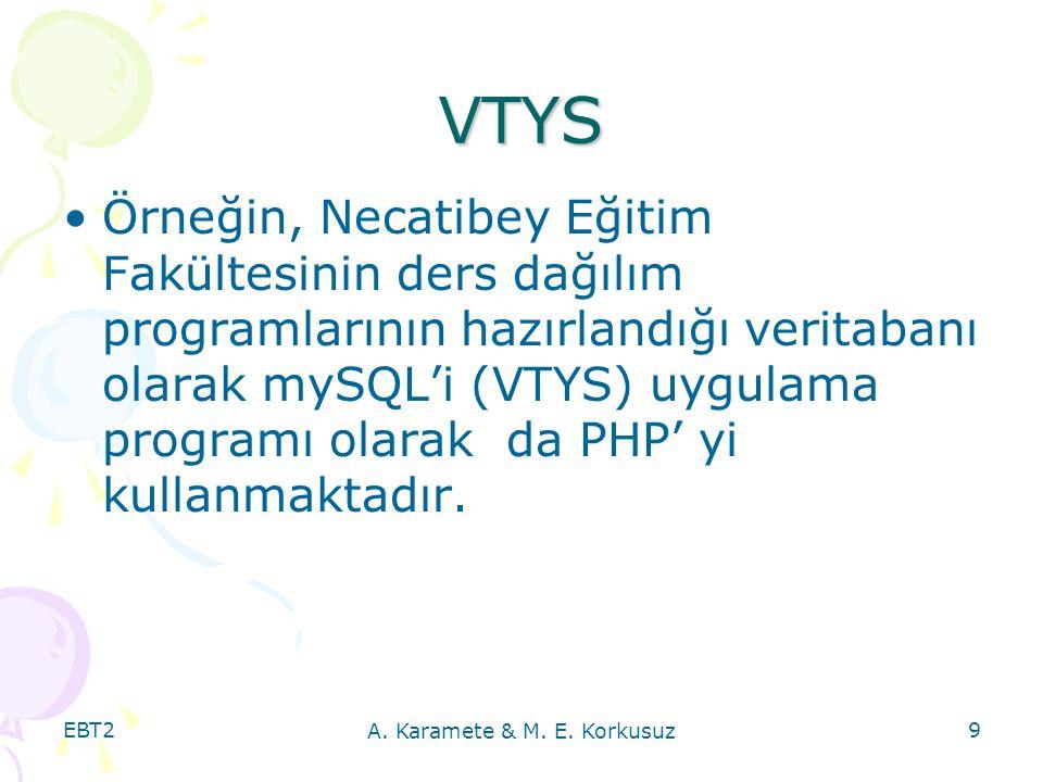 EBT2 A. Karamete & M. E. Korkusuz 9 VTYS Örneğin, Necatibey Eğitim Fakültesinin ders dağılım programlarının hazırlandığı veritabanı olarak mySQL'i (VT