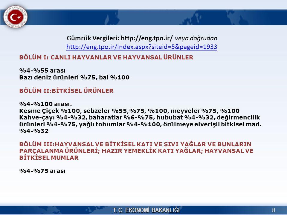 T. C. EKONOMİ BAKANLIĞI 8 Gümrük Vergileri: http://eng.tpo.ir/ veya doğrudan http://eng.tpo.ir/index.aspx?siteid=5&pageid=1933 http://eng.tpo.ir/index