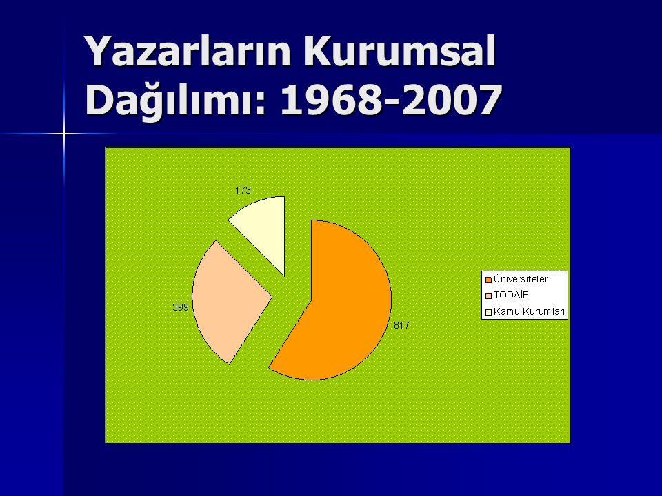Yazarların Kurumsal Dağılımı: 1968-2007