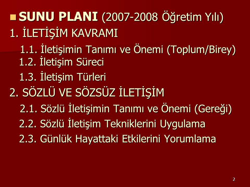 2 SUNU PLANI (2007-2008 Öğretim Yılı) SUNU PLANI (2007-2008 Öğretim Yılı) 1. İLETİŞİM KAVRAMI 1.1. İletişimin Tanımı ve Önemi (Toplum/Birey) 1.2. İlet