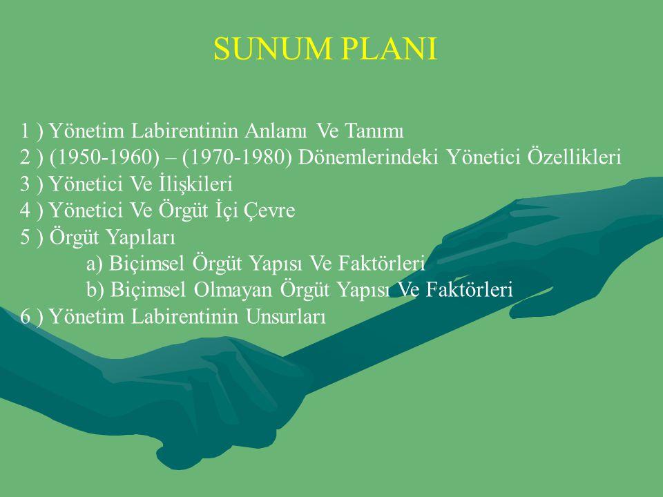 SUNUM PLANI 1 ) Yönetim Labirentinin Anlamı Ve Tanımı 2 ) (1950-1960) – (1970-1980) Dönemlerindeki Yönetici Özellikleri 3 ) Yönetici Ve İlişkileri 4 )