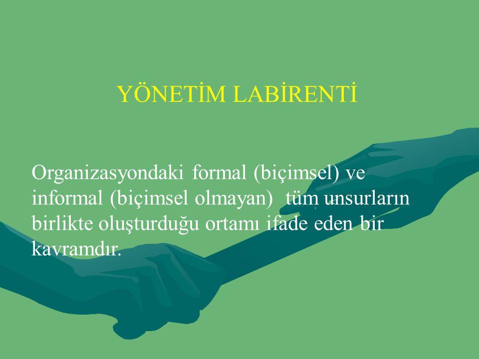 YÖNETİM LABİRENTİ Organizasyondaki formal (biçimsel) ve informal (biçimsel olmayan) tüm unsurların birlikte oluşturduğu ortamı ifade eden bir kavramdı