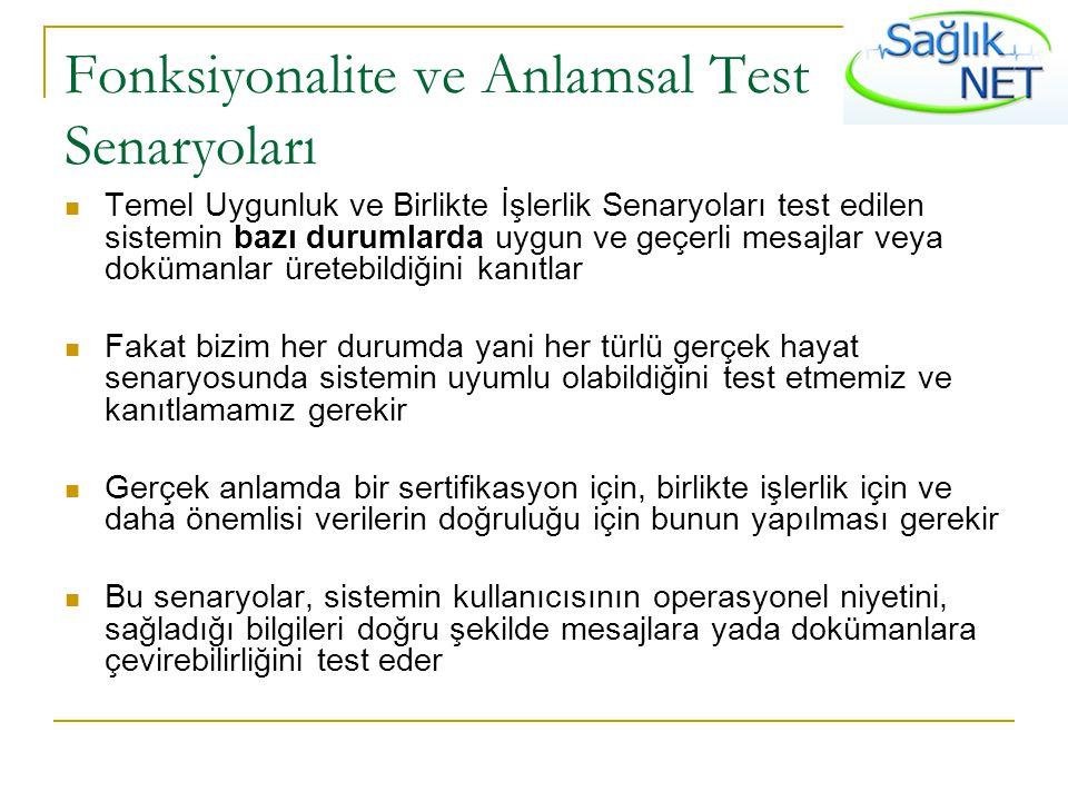 Fonksiyonalite ve Anlamsal Test Senaryoları Temel Uygunluk ve Birlikte İşlerlik Senaryoları test edilen sistemin bazı durumlarda uygun ve geçerli mesa