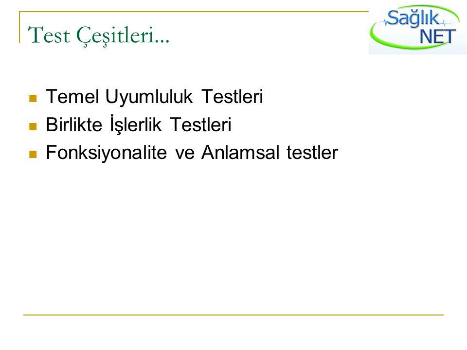 Test Çeşitleri... Temel Uyumluluk Testleri Birlikte İşlerlik Testleri Fonksiyonalite ve Anlamsal testler