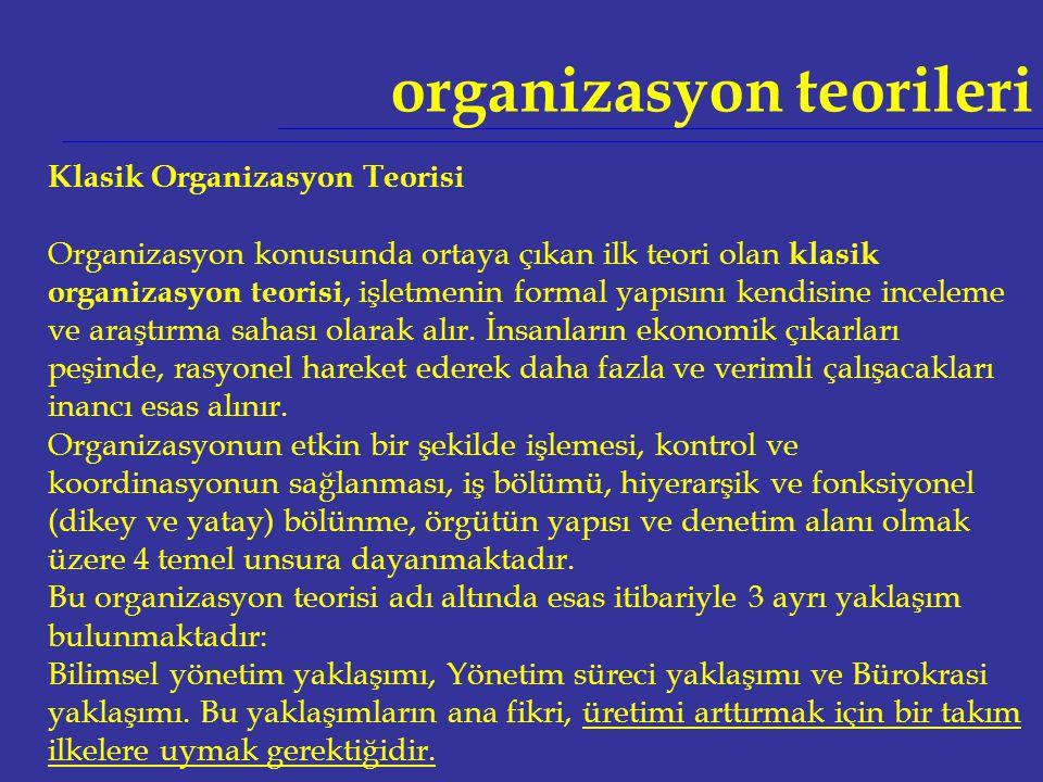 organizasyon teorileri Klasik Organizasyon Teorisi Organizasyon konusunda ortaya çıkan ilk teori olan klasik organizasyon teorisi, işletmenin formal y