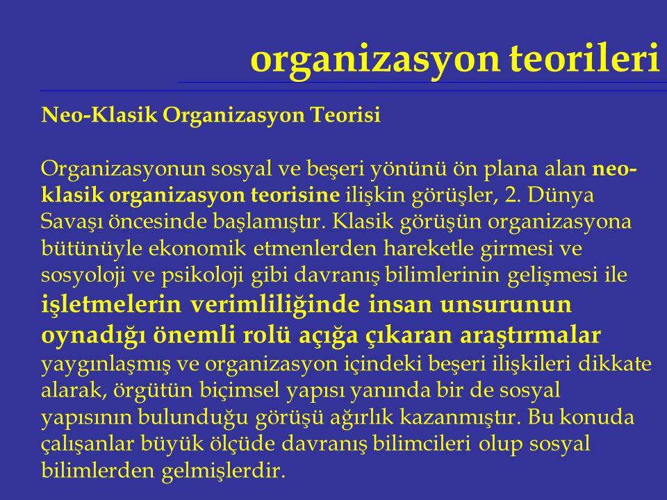 organizasyon teorileri Neo-Klasik Organizasyon Teorisi Organizasyonun sosyal ve beşeri yönünü ön plana alan neo- klasik organizasyon teorisine ilişkin