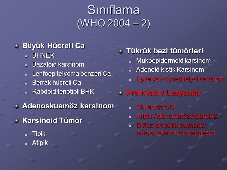 Sınıflama (WHO 2004 – 2) Büyük Hücreli Ca BHNEK BHNEK Bazaloid karsinom Bazaloid karsinom Lenfoepitelyoma benzeri Ca Lenfoepitelyoma benzeri Ca Berrak