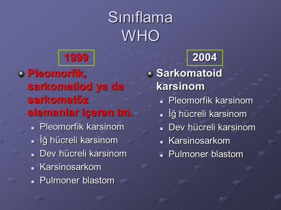 Sınıflama WHO 1999 Pleomorfik, sarkomatiod ya da sarkomatöz elemanlar içeren tm. Pleomorfik karsinom Pleomorfik karsinom İğ hücreli karsinom İğ hücrel