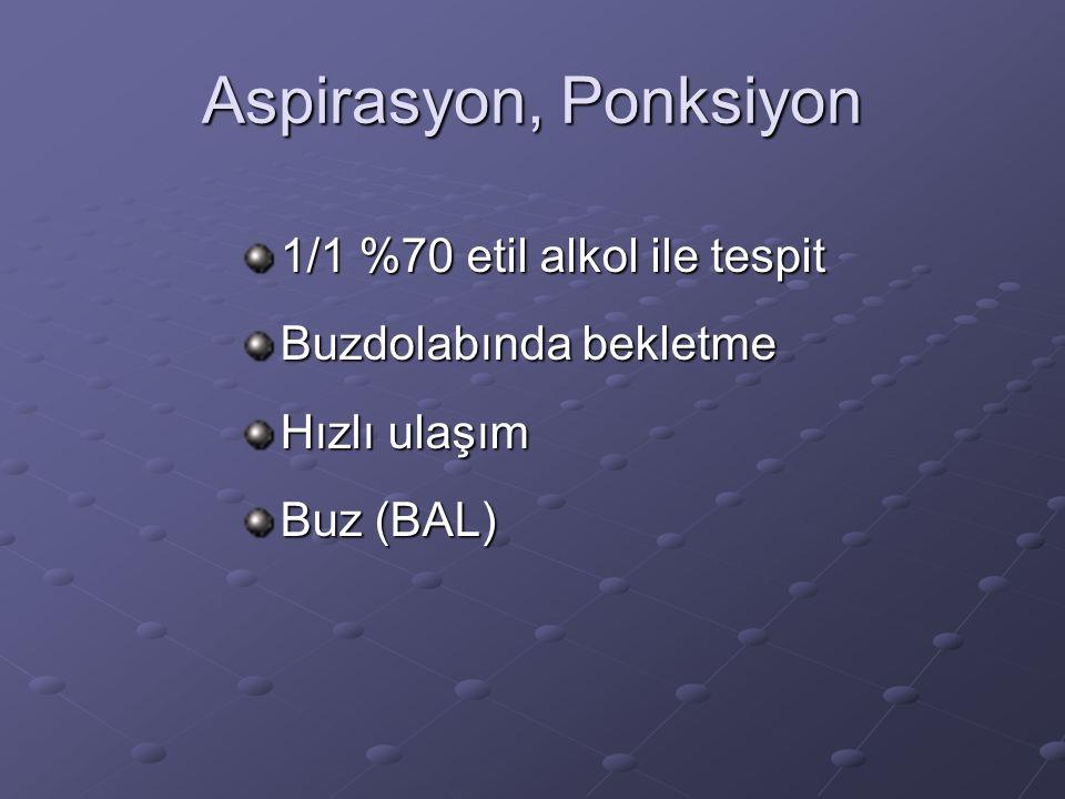 Aspirasyon, Ponksiyon 1/1 %70 etil alkol ile tespit Buzdolabında bekletme Hızlı ulaşım Buz (BAL)