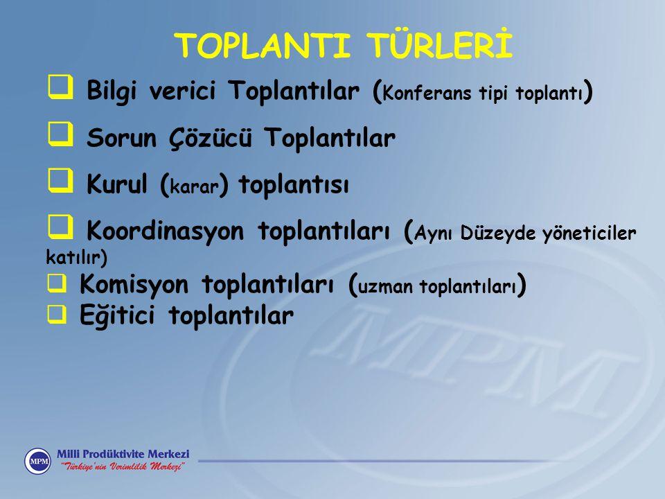 TOPLANTI TÜRLERİ  Bilgi verici Toplantılar ( Konferans tipi toplantı )  Sorun Çözücü Toplantılar  Kurul ( karar ) toplantısı  Koordinasyon toplant