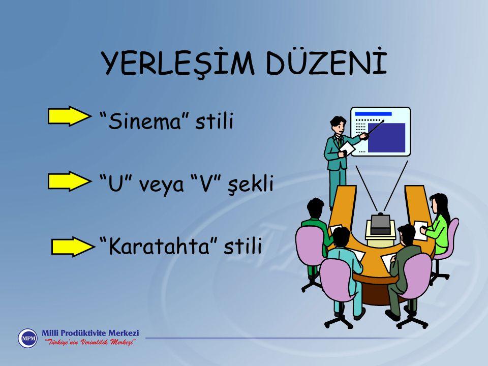 """YERLEŞİM DÜZENİ """"Sinema"""" stili """"U"""" veya """"V"""" şekli """"Karatahta"""" stili"""