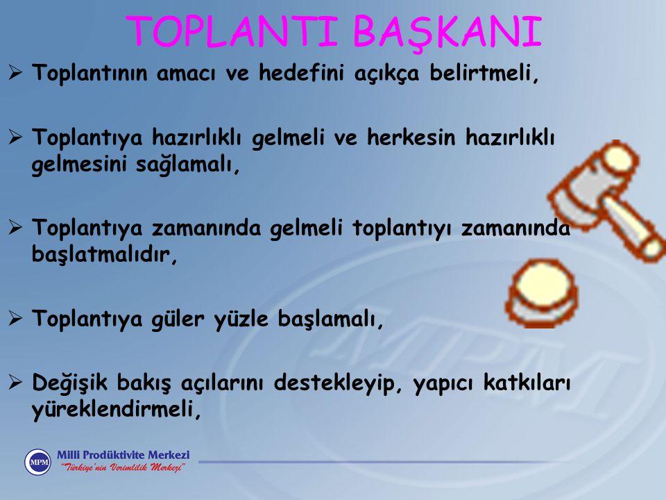 TOPLANTI BAŞKANI  Toplantının amacı ve hedefini açıkça belirtmeli,  Toplantıya hazırlıklı gelmeli ve herkesin hazırlıklı gelmesini sağlamalı,  Topl