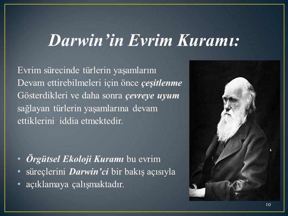 Darwin'in Evrim Kuramı: Evrim sürecinde türlerin yaşamlarını Devam ettirebilmeleri için önce çeşitlenme Gösterdikleri ve daha sonra çevreye uyum sağlayan türlerin yaşamlarına devam ettiklerini iddia etmektedir.