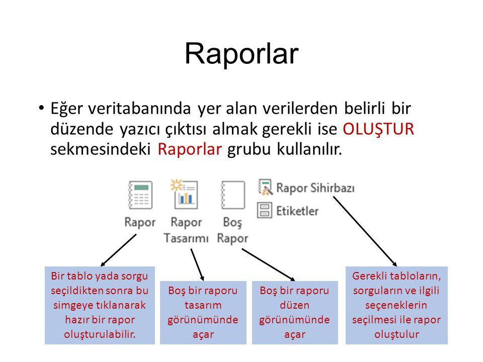 Raporlar Eğer veritabanında yer alan verilerden belirli bir düzende yazıcı çıktısı almak gerekli ise OLUŞTUR sekmesindeki Raporlar grubu kullanılır. B
