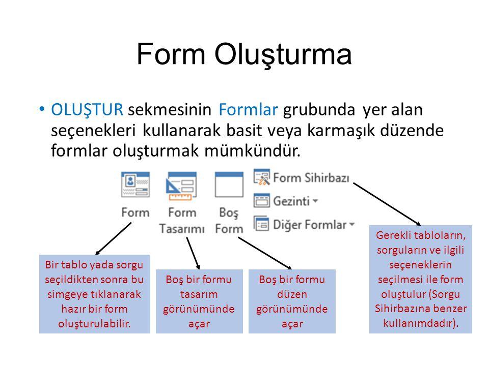 Form Oluşturma OLUŞTUR sekmesinin Formlar grubunda yer alan seçenekleri kullanarak basit veya karmaşık düzende formlar oluşturmak mümkündür. Bir tablo