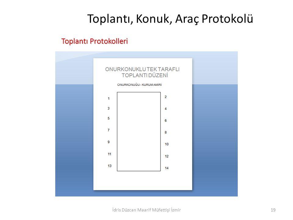 Toplantı, Konuk, Araç Protokolü Toplantı Protokolleri Toplantı Protokolleri İdris Düzcan Maarif Müfettişi İzmir19
