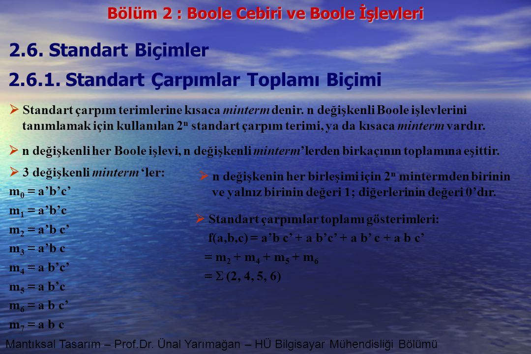 Bölüm 2 : Boole Cebiri ve Boole İşlevleri Mantıksal Tasarım – Prof.Dr. Ünal Yarımağan – HÜ Bilgisayar Mühendisliği Bölümü 2.6. Standart Biçimler 2.6.1