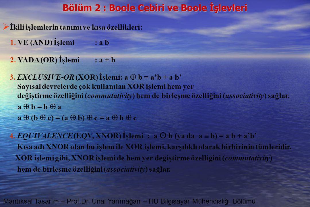 Bölüm 2 : Boole Cebiri ve Boole İşlevleri Mantıksal Tasarım – Prof.Dr. Ünal Yarımağan – HÜ Bilgisayar Mühendisliği Bölümü  İkili işlemlerin tanımı ve