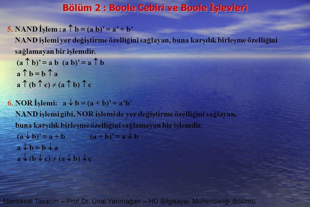 Bölüm 2 : Boole Cebiri ve Boole İşlevleri Mantıksal Tasarım – Prof.Dr. Ünal Yarımağan – HÜ Bilgisayar Mühendisliği Bölümü 5. NAND İşlem :a  b = (a b)