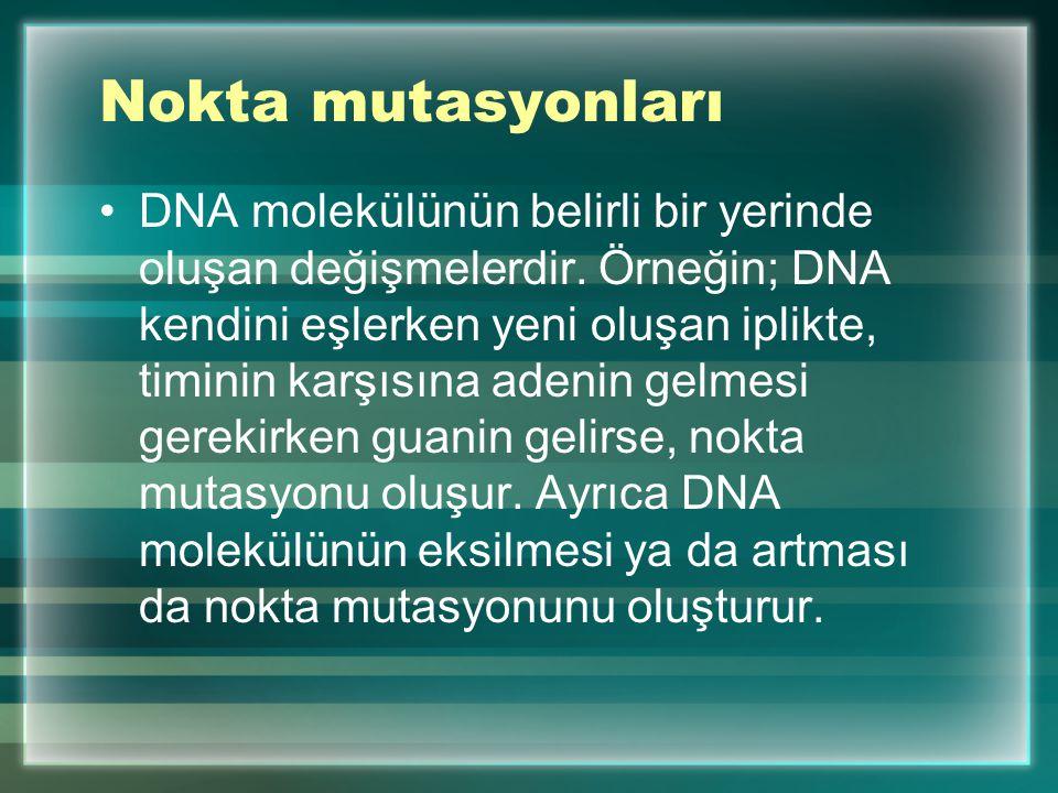 Mutasyon Hücre bölünmesi sırasında DNA molekülü kendi kopyasını oluşturur. Çok küçük bir olasılıkla kopyalama sırasında hata olabilir. DNA'da oluşan d