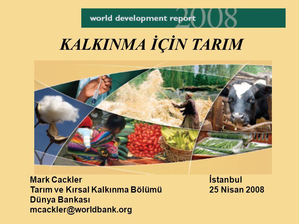 KALKINMA İÇİN TARIM Mark Cacklerİstanbul Tarım ve Kırsal Kalkınma Bölümü 25 Nisan 2008 Dünya Bankası mcackler@worldbank.org