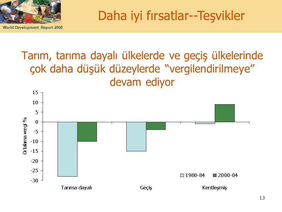 """World Development Report 2008 13 Tarım, tarıma dayalı ülkelerde ve geçiş ülkelerinde çok daha düşük düzeylerde """"vergilendirilmeye"""" devam ediyor Daha i"""