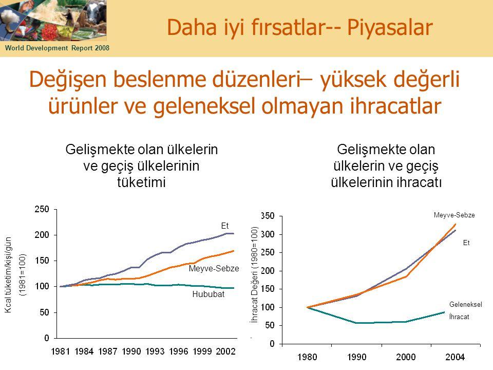 World Development Report 2008 14 Değişen beslenme düzenleri ̶ yüksek değerli ürünler ve geleneksel olmayan ihracatlar Gelişmekte olan ülkelerin ve geç