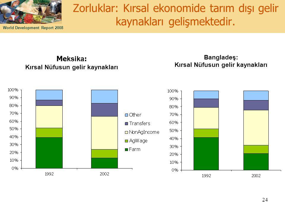 World Development Report 2008 24 Zorluklar: Kırsal ekonomide tarım dışı gelir kaynakları gelişmektedir. Me ksika : Kırsal Nüfusun gelir kaynakları Ban