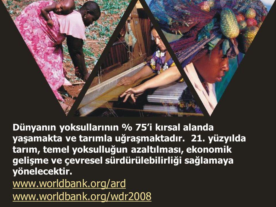 World Development Report 2008 28 Dünyanın yoksullarının % 75'i kırsal alanda yaşamakta ve tarımla uğraşmaktadır. 21. yüzyılda tarım, temel yoksulluğun