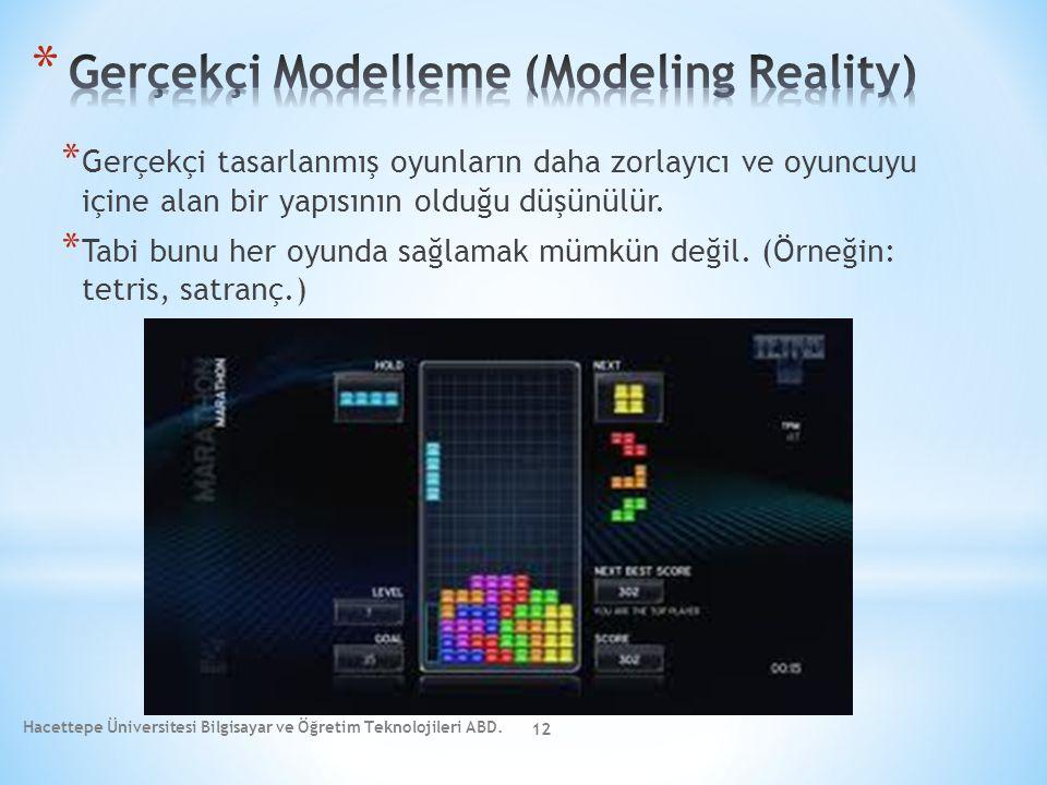 * Gerçekçi tasarlanmış oyunların daha zorlayıcı ve oyuncuyu içine alan bir yapısının olduğu düşünülür. * Tabi bunu her oyunda sağlamak mümkün değil. (
