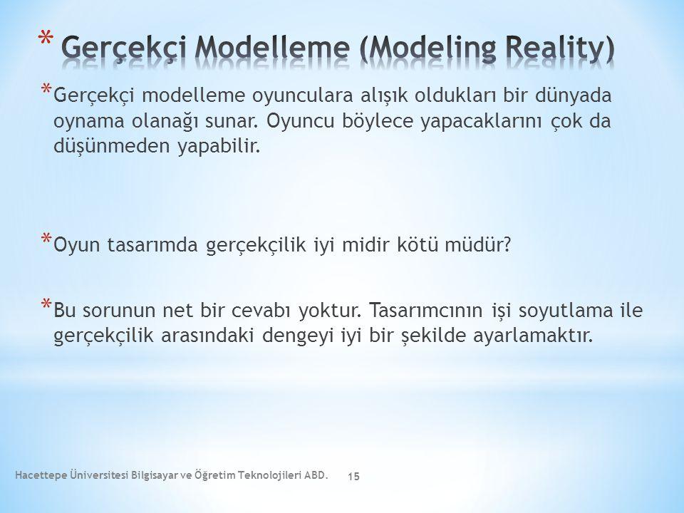 * Gerçekçi modelleme oyunculara alışık oldukları bir dünyada oynama olanağı sunar. Oyuncu böylece yapacaklarını çok da düşünmeden yapabilir. * Oyun ta