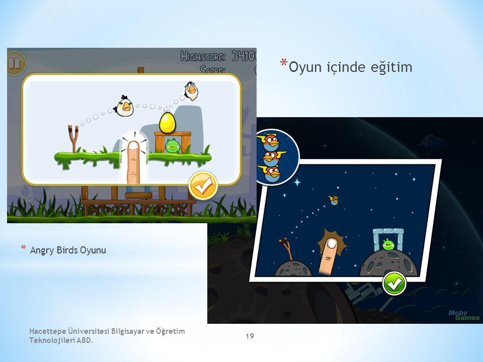 Hacettepe Üniversitesi Bilgisayar ve Öğretim Teknolojileri ABD. 19 * Oyun içinde eğitim * Angry Birds Oyunu