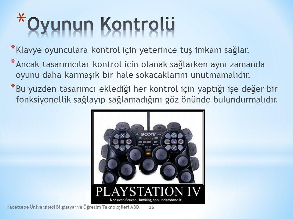 * Klavye oyunculara kontrol için yeterince tuş imkanı sağlar. * Ancak tasarımcılar kontrol için olanak sağlarken aynı zamanda oyunu daha karmaşık bir