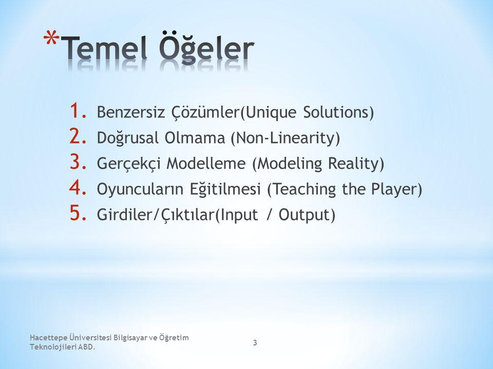 3 1. Benzersiz Çözümler(Unique Solutions) 2. Doğrusal Olmama (Non-Linearity) 3. Gerçekçi Modelleme (Modeling Reality) 4. Oyuncuların Eğitilmesi (Teach