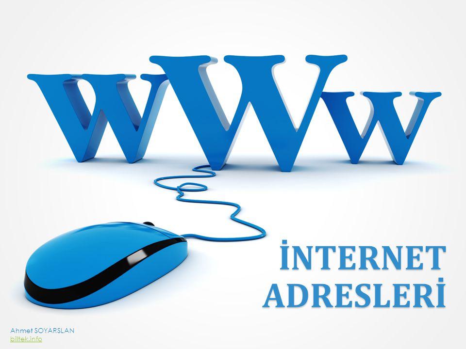 UYGULAMA Şimdi verilen internet adreslerindeki eksik kısımları tamamlayalım…