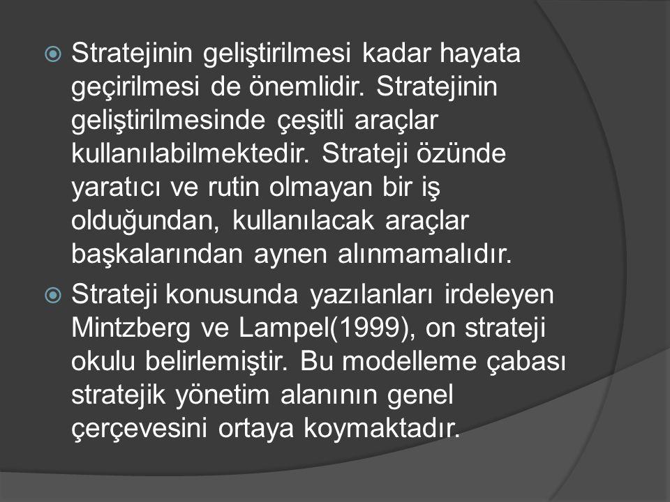  Stratejinin geliştirilmesi kadar hayata geçirilmesi de önemlidir. Stratejinin geliştirilmesinde çeşitli araçlar kullanılabilmektedir. Strateji özünd