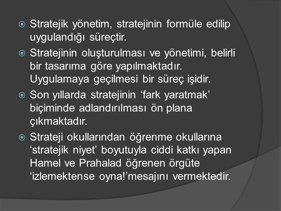  Stratejik yönetim, stratejinin formüle edilip uygulandığı süreçtir.  Stratejinin oluşturulması ve yönetimi, belirli bir tasarıma göre yapılmaktadır