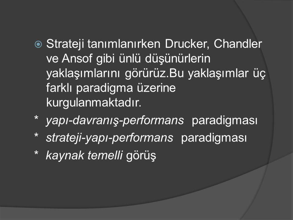  Strateji tanımlanırken Drucker, Chandler ve Ansof gibi ünlü düşünürlerin yaklaşımlarını görürüz.Bu yaklaşımlar üç farklı paradigma üzerine kurgulanm