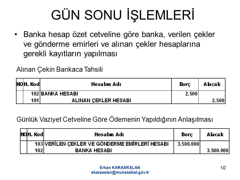 Erkan KARAARSLAN ekaraaslan@muhasebat.gov.tr 10 GÜN SONU İŞLEMLERİ Banka hesap özet cetveline göre banka, verilen çekler ve gönderme emirleri ve alına