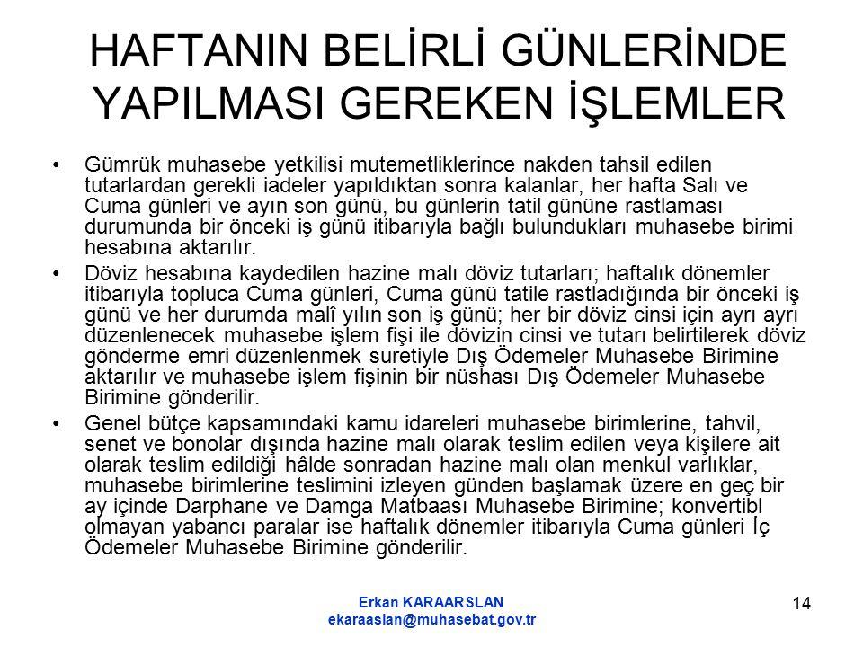 Erkan KARAARSLAN ekaraaslan@muhasebat.gov.tr 14 HAFTANIN BELİRLİ GÜNLERİNDE YAPILMASI GEREKEN İŞLEMLER Gümrük muhasebe yetkilisi mutemetliklerince nak