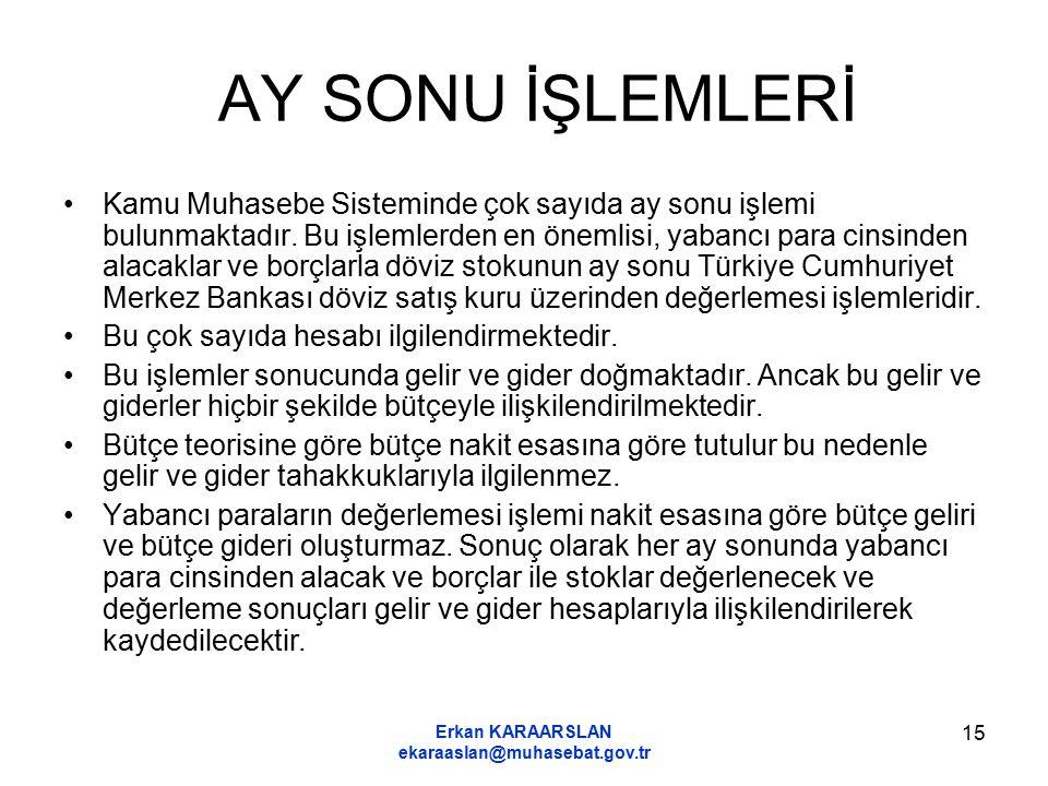 Erkan KARAARSLAN ekaraaslan@muhasebat.gov.tr 15 AY SONU İŞLEMLERİ Kamu Muhasebe Sisteminde çok sayıda ay sonu işlemi bulunmaktadır. Bu işlemlerden en