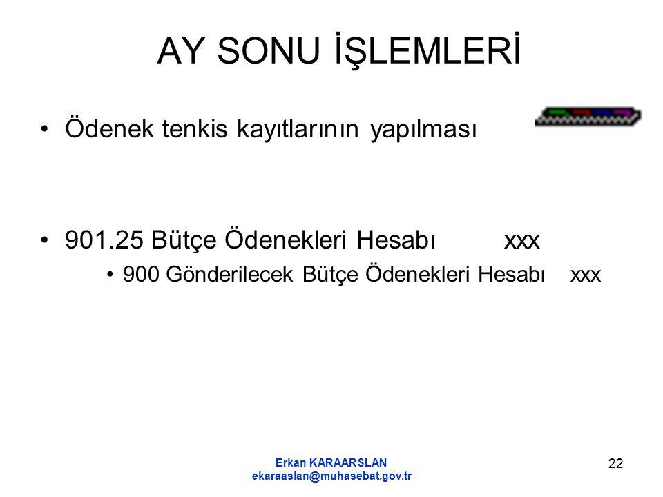 Erkan KARAARSLAN ekaraaslan@muhasebat.gov.tr 22 AY SONU İŞLEMLERİ Ödenek tenkis kayıtlarının yapılması 901.25 Bütçe Ödenekleri Hesabıxxx 900 Gönderile